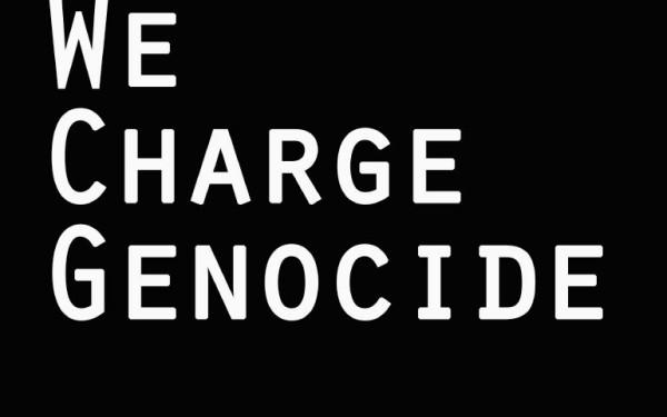 WeChargeGenocideTshirtBlackBG
